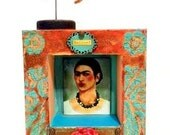 Mixed Media Art Assemblage FRIDA KAHLO SHRINE, Relics and Artifacts, Mexican Folk Art, Wings