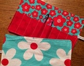 Spring sale sale sale Crayon Roll up Flowers in turquoise