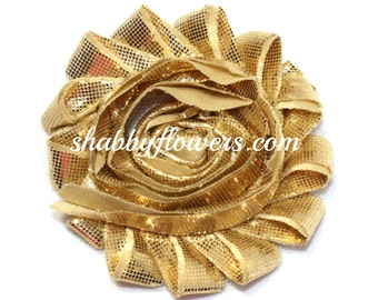 Shabby Flowers, Shabby Flower by the Yard, Shabby Flower Trim, Chiffon Rose Trim, Headband Flowers - Metallic Gold