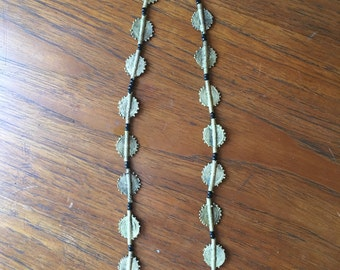 vintage. 70s African Metal Beaded Necklace • Ethnic Necklace • Yellow and Blue Boho Jewelry Necklace
