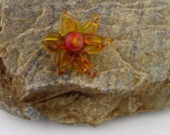 Handmade Borosilicate glass flower bead