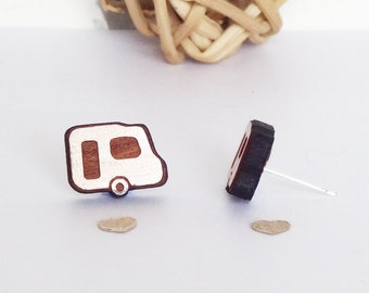 Wooden Caravan Studs, camper earrings, mobile home, gifts for camping fanatics