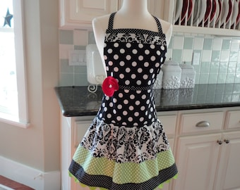 Limeade with Cute Damask ~ Ellie Style Women's Apron ~ 4RetroSisters