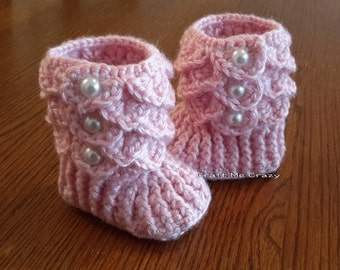 Hand Crochet Pastel Pink Ruffle Top Baby Girl Boot with Pearl Like Buttons