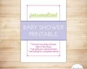 One PERSONALIZED Baby Shower Printable - PRINTABLE, CUSTOM, DiY