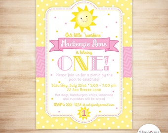 You are My Sunshine Invitation - Sunshine Birthday Invitation - 1st Birthday Invite - First Birthday Invite - PRINTABLE, PERSONALIZED