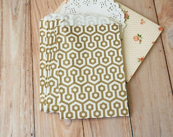 GOLD Honeycomb Middy Bitty Bags medium paper bags