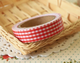 Scarlet Red Gingham deco fabric tape