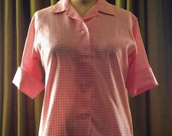 Vintage 1960's Pink Gingham Short Sleeve Button Down Blouse Jantzen Sz 14