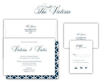 "Script Wedding Invitation ""The Victoria""-- (20 Invites, RSVP Cards, Envelopes)"