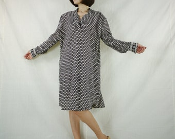 Long Sleeve Hand Block Printed Light Cotton Shirts Blouse Tops Tunics Dress With Curve Hem And 2 Pockets