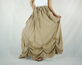 PLUS SIZE SKIRT...Bring Me To The Moon - Steampunk Maxi Flare Beige Cotton Skirt With Ruching Detail Around Bottom Hem