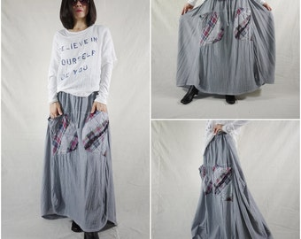 I Wish You Could See...Blue Grey Cotton Skirt With Roomy Patched Pockets Size 8 To Size 14