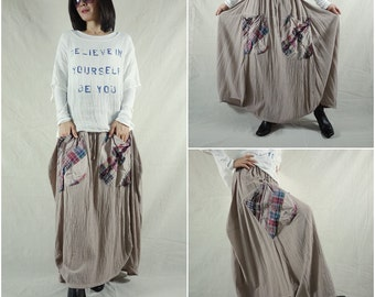I Wish You Could See...Pinkish Sand Asymmetric Hem Cotton Skirt With Roomy Patched Pockets Size 8 To Size 14