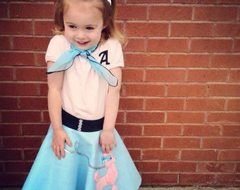Gorgeous Toddler 3pc Patty poodle skirt outfit Baby blue and Pink! Your choice of size 0-12mos,1t-2t,3t-4t prices from 62.00 and Up!