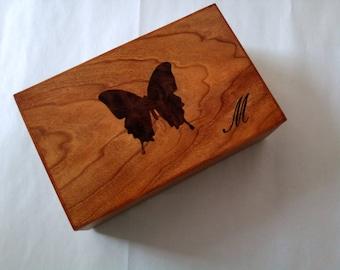 Jewelry Box Keepsake Box Butterfly Inlay Cherry Wood
