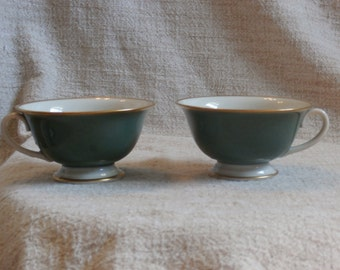 Pair of Franciscan Palomar Jade Green and Gold Teacups, Tea Cups, Beautiful Mid Century Modern lot no. 2