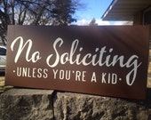 "No Soliciting Sign/No Solicitation/No Soliciting Door Sign/Wood Sign/Front Door Decor/Porch Sign/Deck Sign/Primitive/Brown/6"" x 12"""