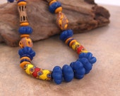 Antique Millefiore Bead Necklace Red and Yellow Venetian Glass with Big Blue Fluted Glass Beads Colorful Boho African Jewelry