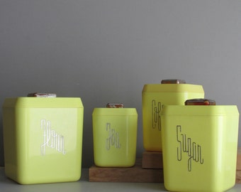 vintage kitchen decor - canister set - Lemon Drop - bright yellow