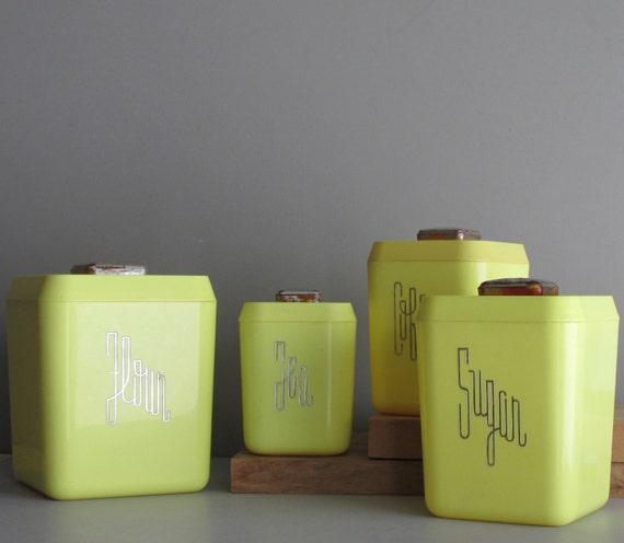 Vintage Kitchen Decor Canister Set Lemon Drop Bright