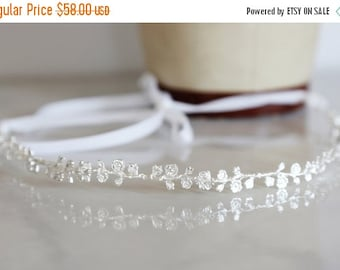 Valentines Day Sale The Rose Vine - Simple Silver Floral Crown, headband, halo, Boho