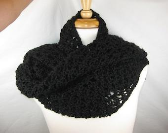 Black Solomon's Knot Crochet Scarf