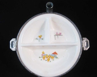 Antique Baby Chicks Child's Warming Dish G.W. Co. Germany