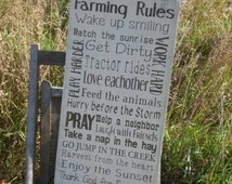 Farmer Rules Sign, Rustic Ranch Rules, Farm Rules, 12x24 Cowboy Rules Sign  Rustic Primitive Typography Farmhouse decor
