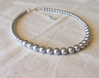 Light Gray Pearl Necklace, Single Strand Swarovski Pearl Bridesmaid Jewelry, Silver Pearls, Gray Necklace, Choose Your Color