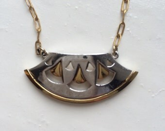 Silver and Gold Geometric Necklace
