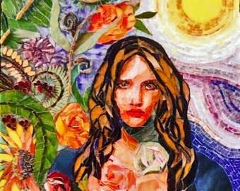 SALE ... Enchanting, Mosaic Portrait, One of a Kind, mosaic Art