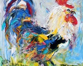 Rooster Dance painting original oil abstract palette knife impressionism on canvas fine art by Karen Tarlton