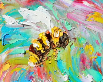 Bee painting original oil 6x6 palette knife impressionism on canvas fine art by Karen Tarlton