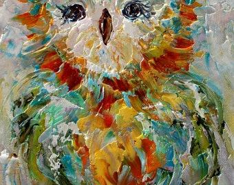 Owl painting original oil abstract impressionism fine art impasto on canvas by Karen Tarlton