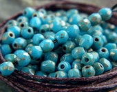 3mm Blue Picasso Czech Glass Round Beads, Fire Polished Beads, Opaque Blue & Silver Picasso finish (100pcs) NEW