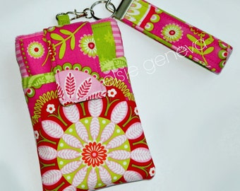 Pink and Lime Green Phone Case with Wristlet  Optional Shoulder Strap OR Periwinkle Blue Aqua Bandana  - iPhone 5 6 Plus Note