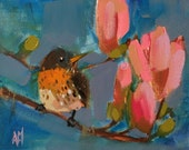 Robin and Magnolias Original Bird Oil Painting by Angela Moulton 8 x 10 inch on canvas Pre-order