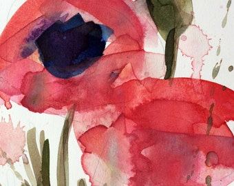 Poppies no. 5 Original Floral Watercolor Painting by Angela Moulton 5 x 7 inch with 8 x 10 White Mat