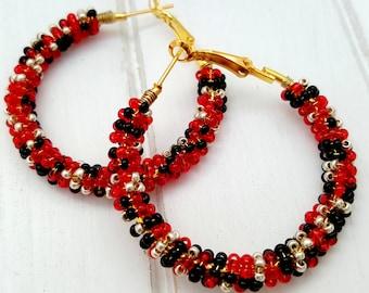 Beaded Hoop Earrings - Red Hoop Earrings - Black Gold Earrings -  Seed Bead Hoop Earrings - Gift for Best Friend - Birthday Gifts for Women