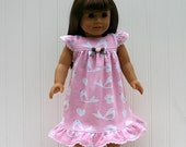 FREE SHIPPING / 18-Inch American Girl Doll Nightgown, Pink Cotton-KNIT, Eyelet Trim  // Quality Handmade // Ready to Ship