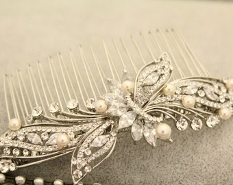 Wedding hair comb pearl,Vintage inspired Bridal hair comb,Wedding accessories,Wedding hair piece,Bridal hair accessories,Bridal comb,Wedding