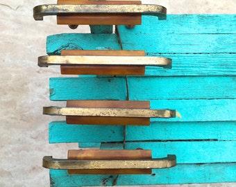 Art Deco Modern Bakelite Brass Drawer Handles Furniture Hardware
