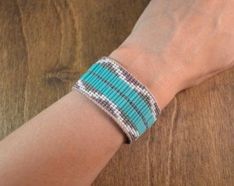 Beaded Cuff Bracelet in Leather & Silk with Pyramid Pattern in Turquoise and Purple