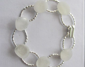 White Bracelet Hammered Seaglass - Beach Glass - Genuine Seaglass