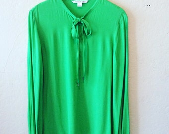 Diane Von Furstenberg Puffed Sleeve Brilliant Green Blouse
