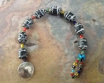 Antique African Trade Bead Bracelet, , Ethnic Bracelet, African Bracelet, Tribal Bracelet, Collector's Bracelet, Bohiemian Bracelet