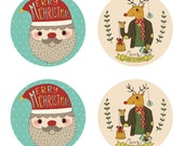 "50% OFF Set of 20 - Santa Claus and Reindeer Christmas Stickers - 2"" Round Holiday Stickers - Envelope Seals - Gift Seal - Christmas Sticker"
