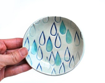 Raindrop Bowl, Ring Dish - Turquoise, Blue - Ceramic, Pottery, Jewelry Dish, Tea Bag Rest, Spoon Rest, Soap Dish - Lauren Sumner Pottery
