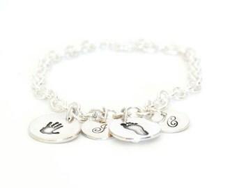 Personalized Handprint Charm, Footprint Bracelet, Handprint Charm Bracelet, Baby Footprint Bracelet, Charm Bracelet